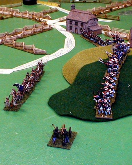 The Union press forward to strike at the advance Reb brigade.
