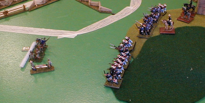 The Confederate start to suffer heavy casualties at the front.